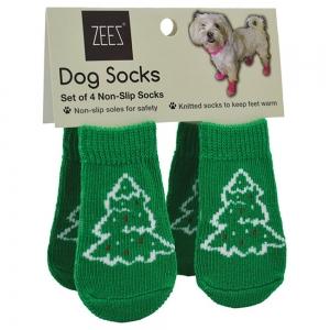 ZeeZ NON-SLIP PET SOCKS CHRISTMAS TREE GREEN Medium 3x7.5cm - Click for more info