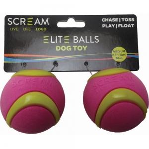 "Scream ELITE BALL MEDIUM 2.5"" (6.5cm) Loud Green & Pink 2pk - Click for more info"
