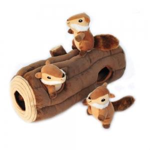 ZippyPaws - ZIPPY BURROW LOG w/3 CHIPMUNKS 35.5 x 15cm - Click for more info